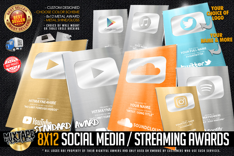 (NEW 2018) 8x12 SOCIAL MEDIA & STREAMING AWARD